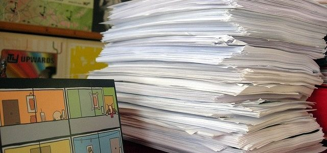 Photo of papers piled up