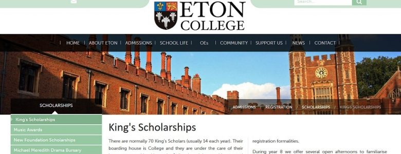 Screenshot of Eton College Kings Scholarship page