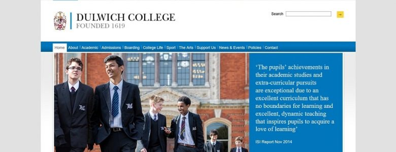 Screenshot of Dulwich College website