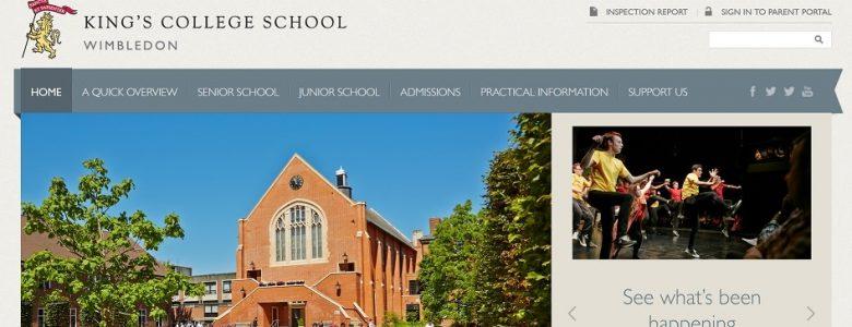 Screenshot of King's College School Wimbledon website