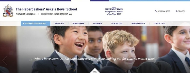 Screenshot of the Haberdasher's Aske's School for Boys website