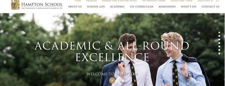 Screenshot of Hampton School website