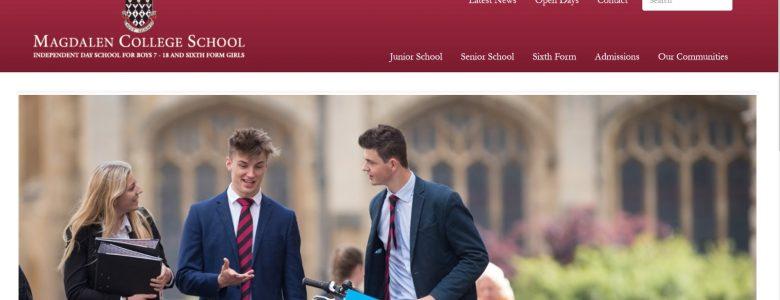 Screenshot of Magdalen College School website