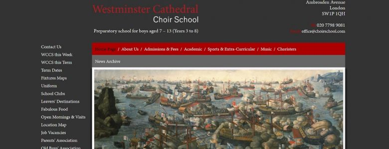 Screenshot of Westminster Cathedral Choir School website