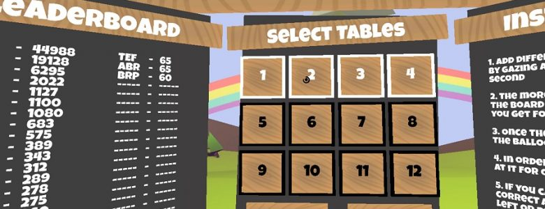Screenshot of Times Table Virtual Reality Game