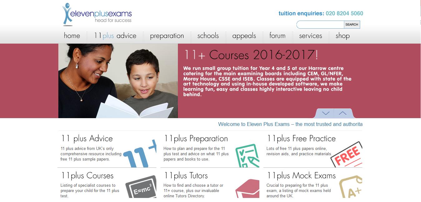 Screenshot of the Eleven Plus Exams website
