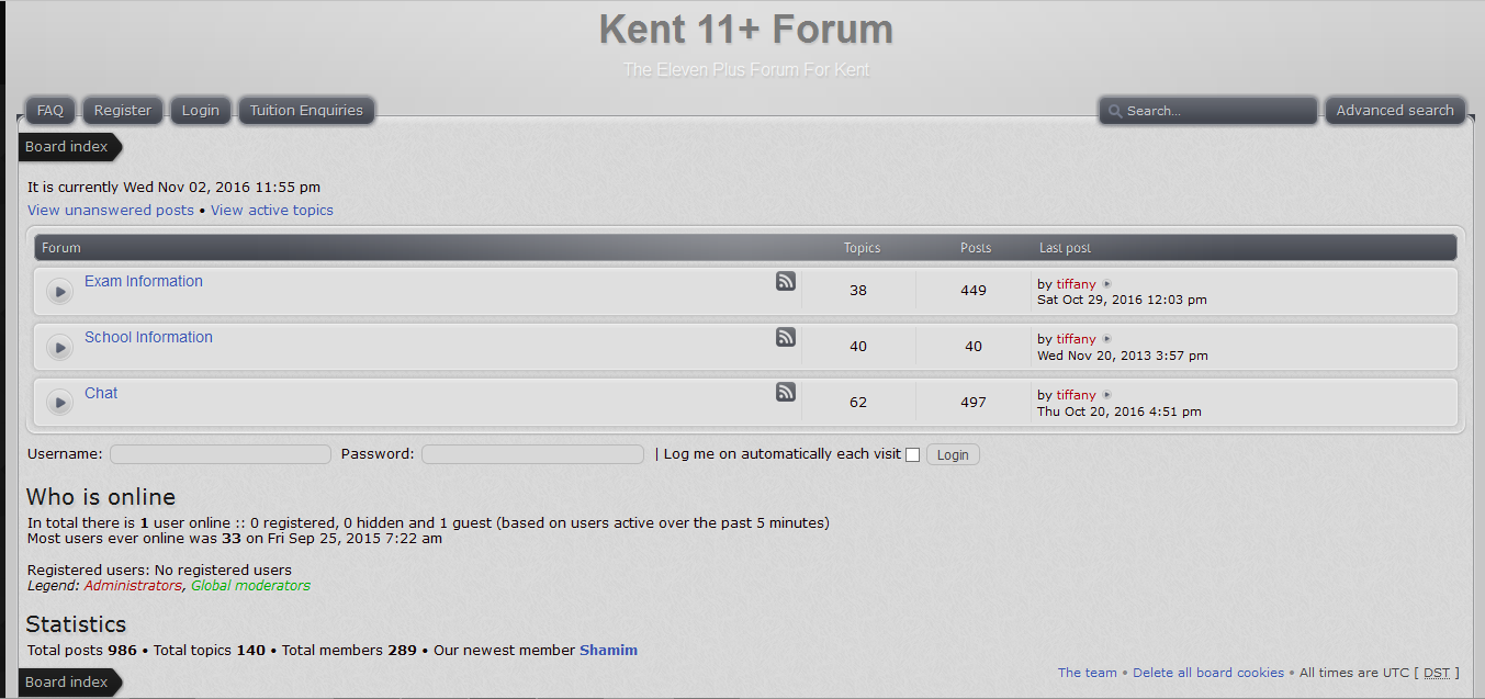 Screenshot of the Eleven Plus Forum