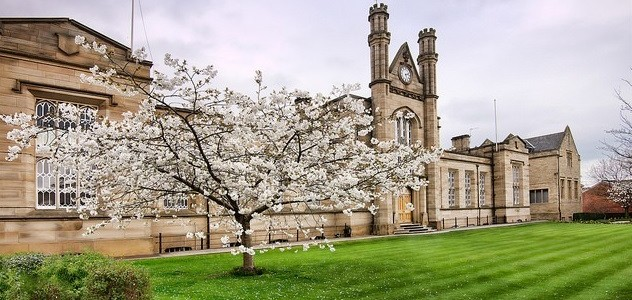 Private school building with a cherry blossom tree in the foreground
