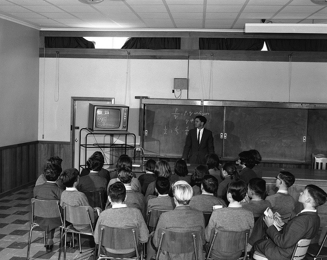 Black and white photograph of a classroom