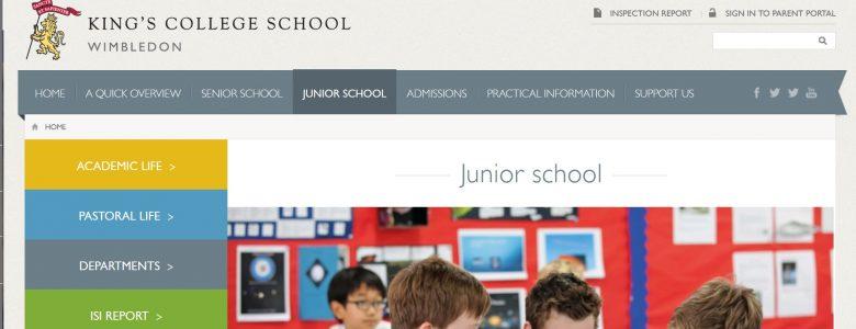 Screenshot of King's College School website