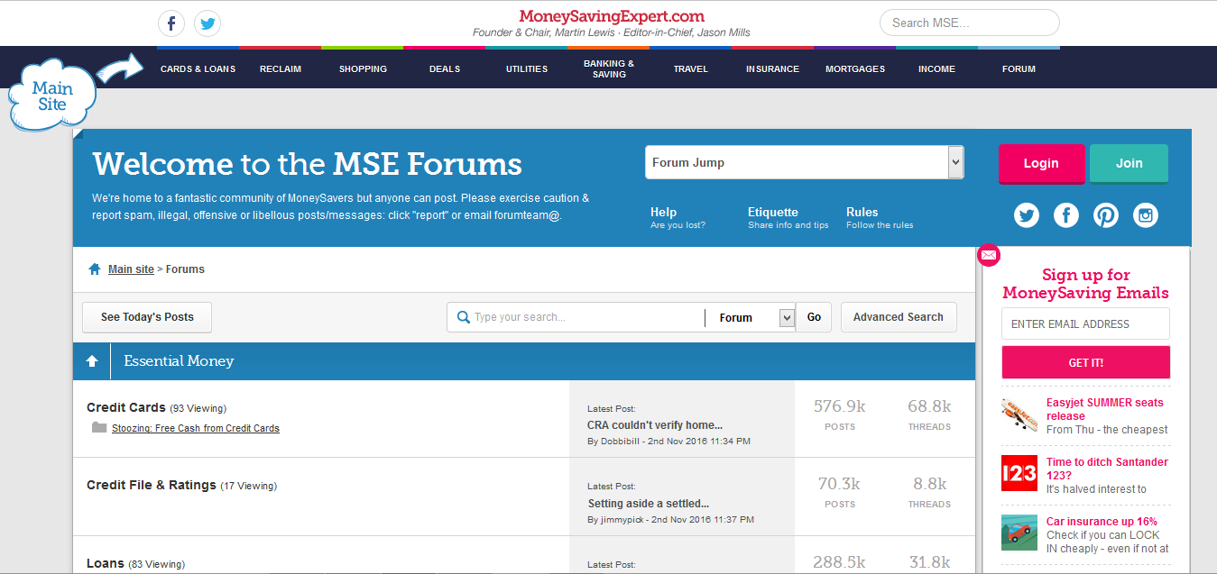 Screenshot of the Money Saving Expert website