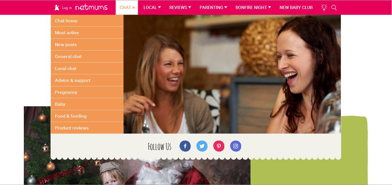 Screenshot of the NetMums website