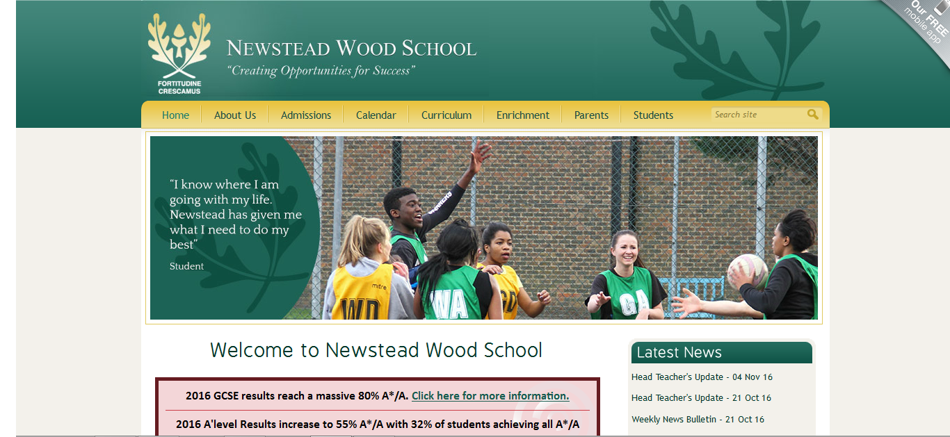Screenshot of Newstead Wood School's website