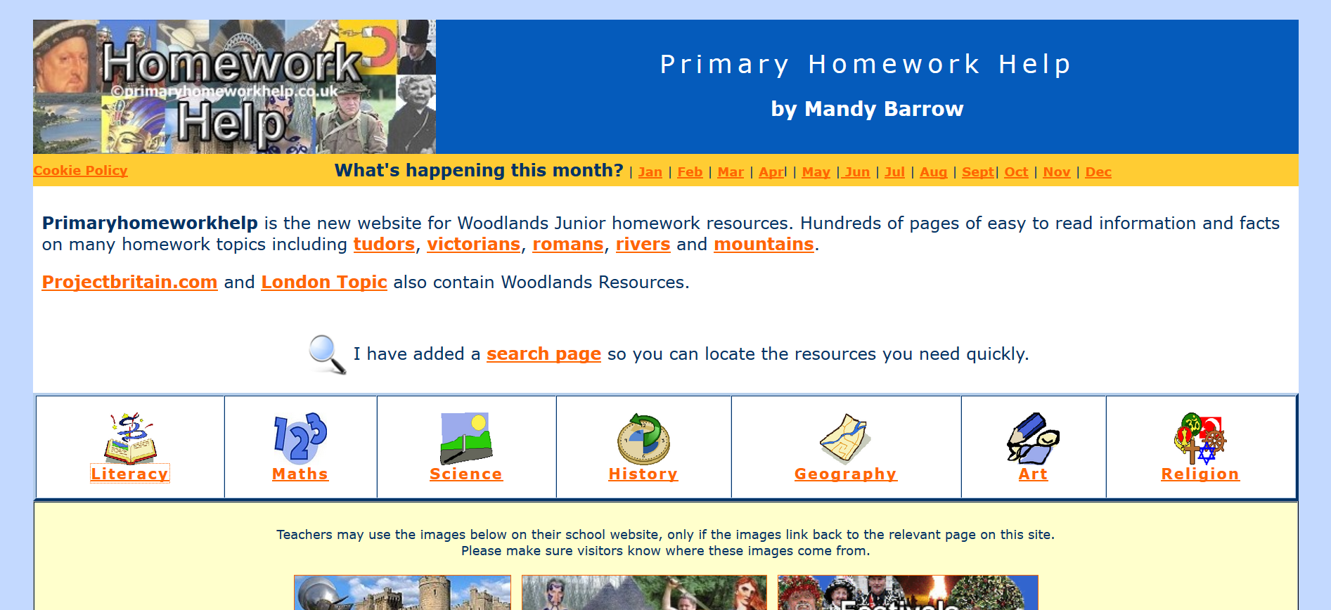 Screenshot of the Primary Homework Help website