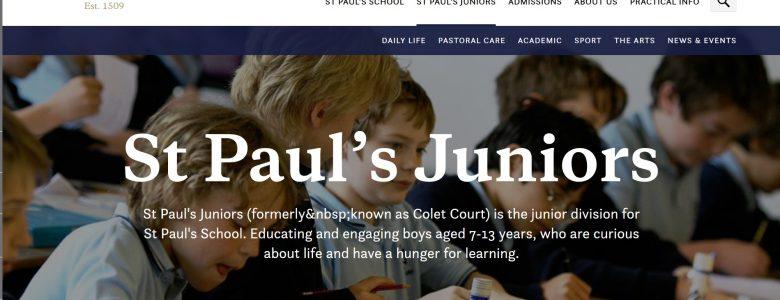 Screenshot of St Paul's Juniors school website