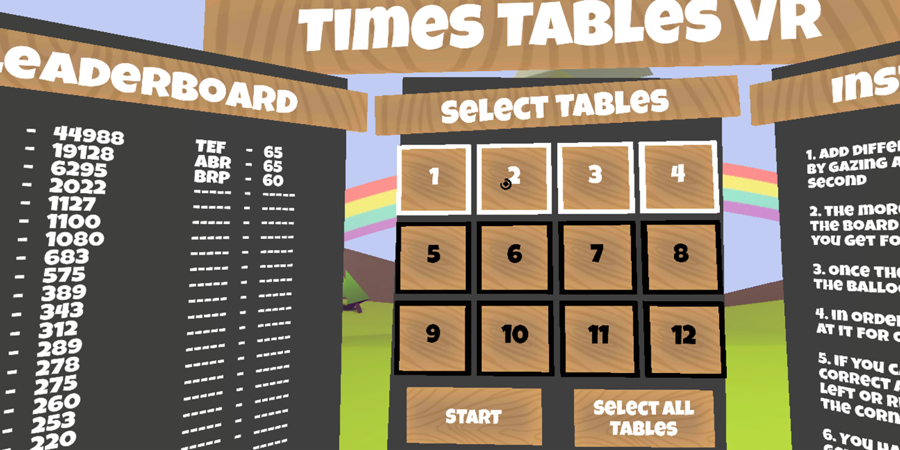 Screenshot of Times Tables VR Game