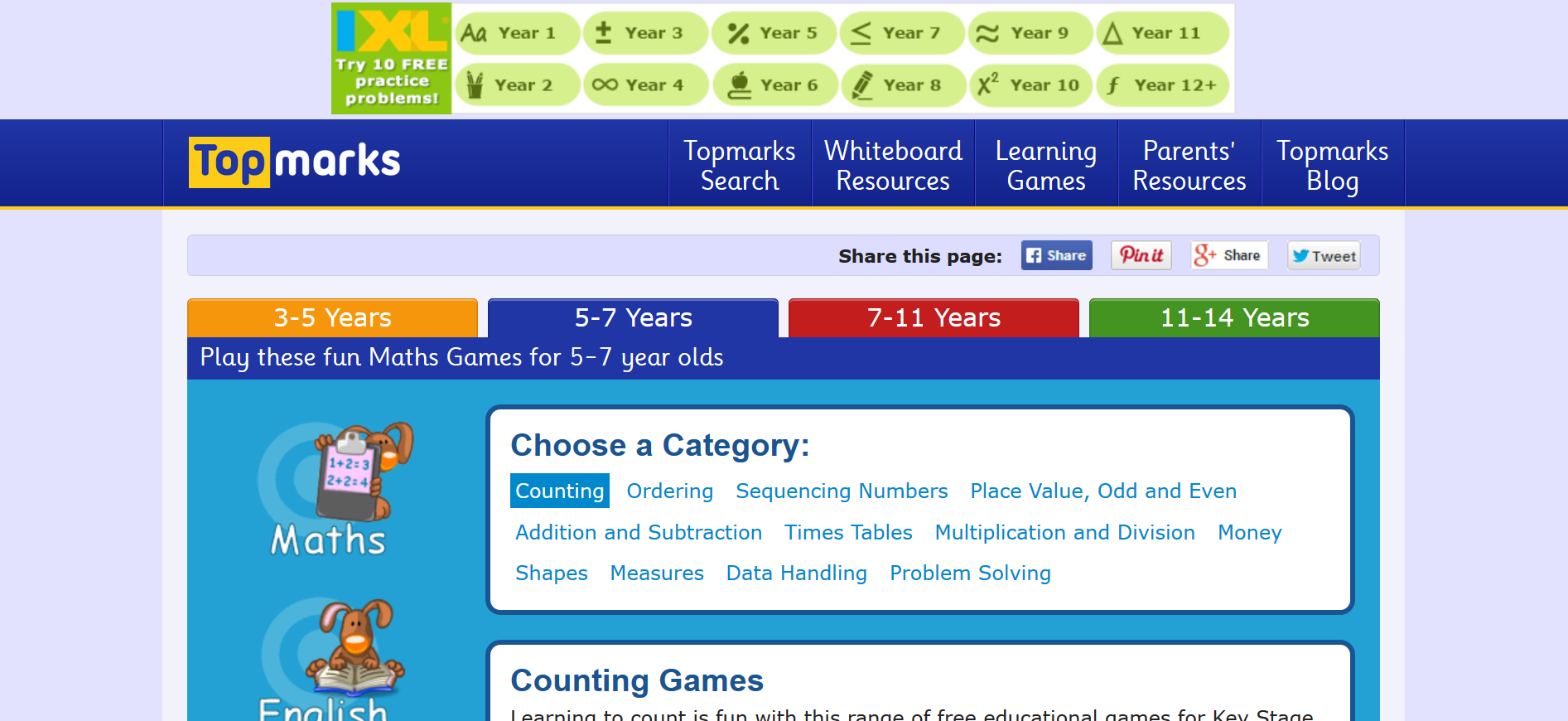 Screenshot of the Top Marks website