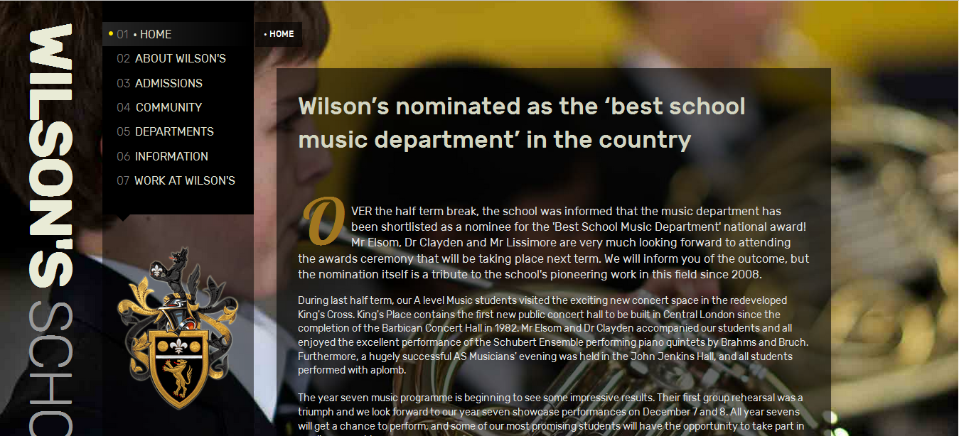 Screenshot of Wilson's School website