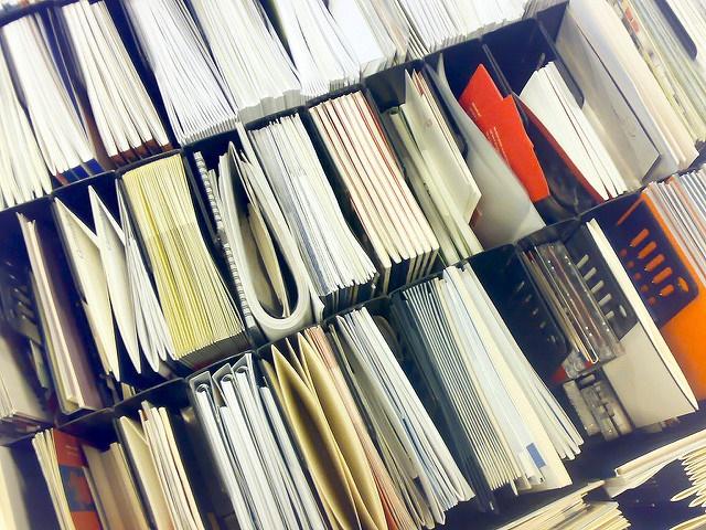 Paperwork filed in shelves