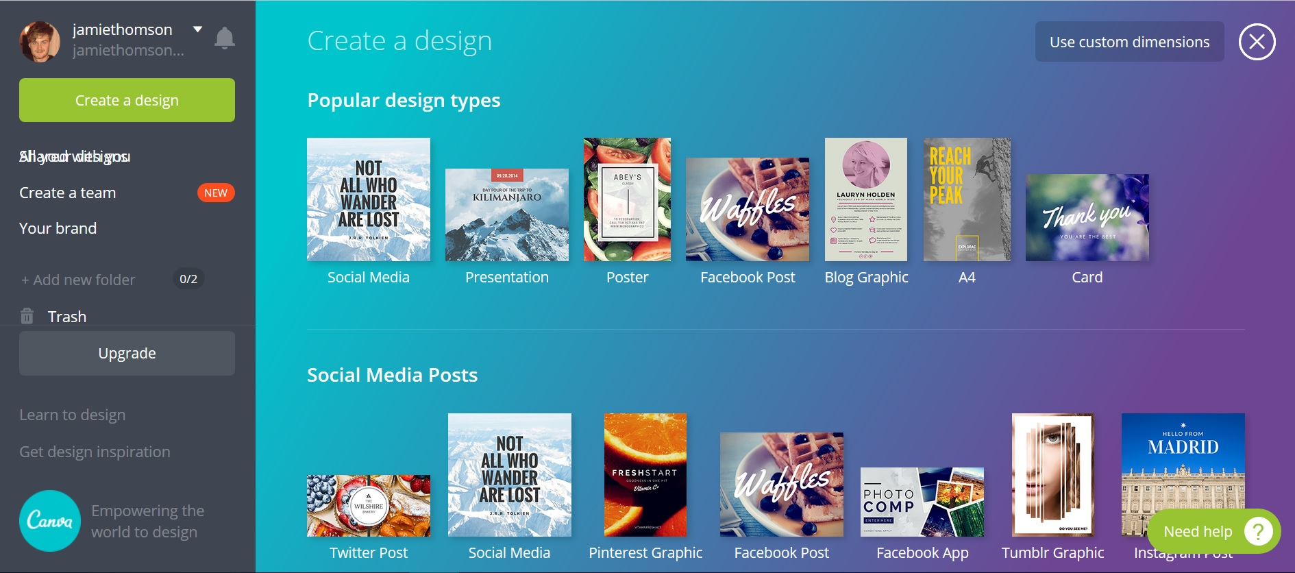 Screenshot of the Canva website