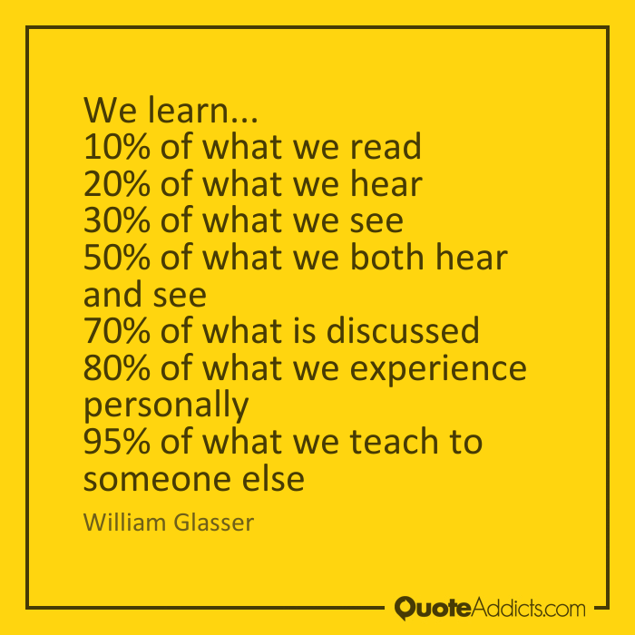 Yellow graphic with quotes about learning