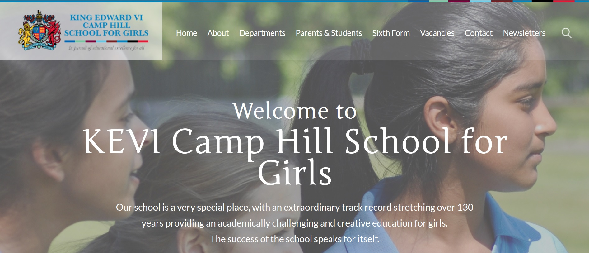 Screenshot of the King Edward IV Camp Hill School website homepage