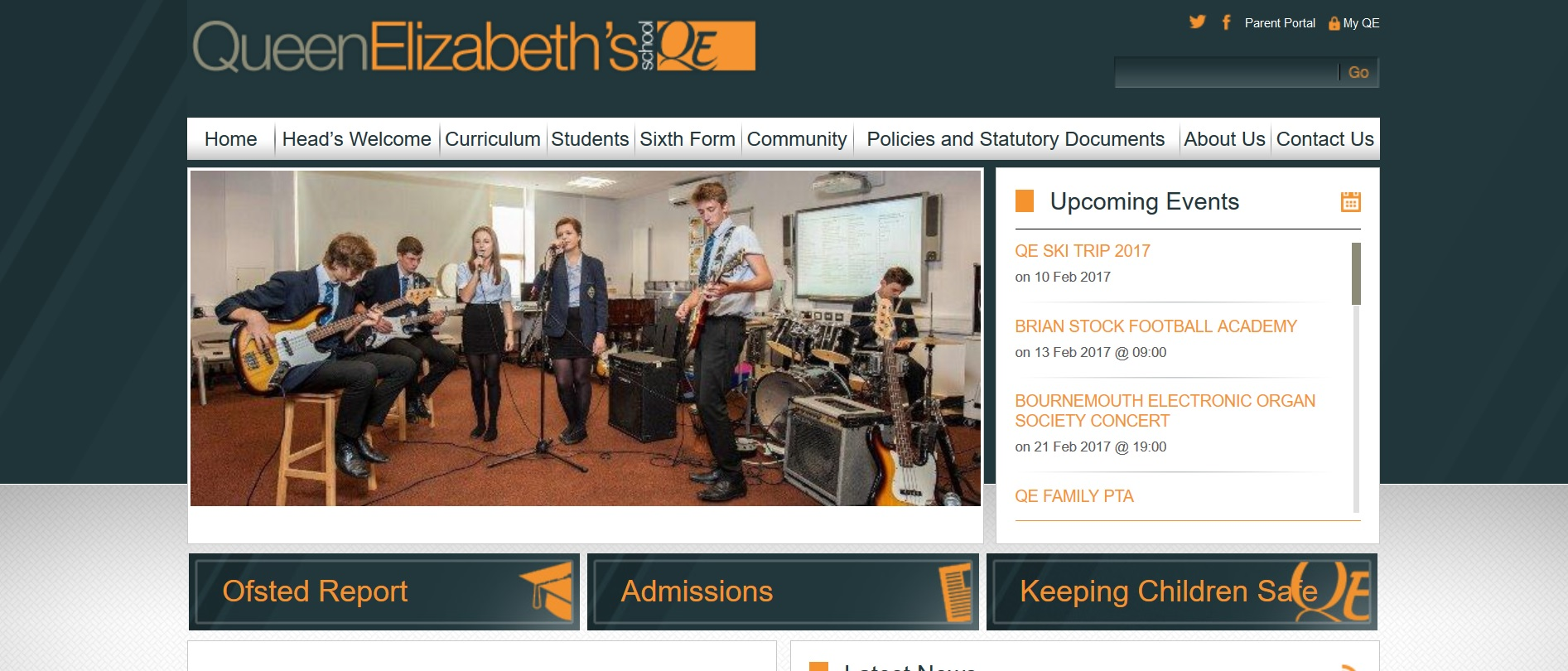Screenshot of Queen Elizabeth School website