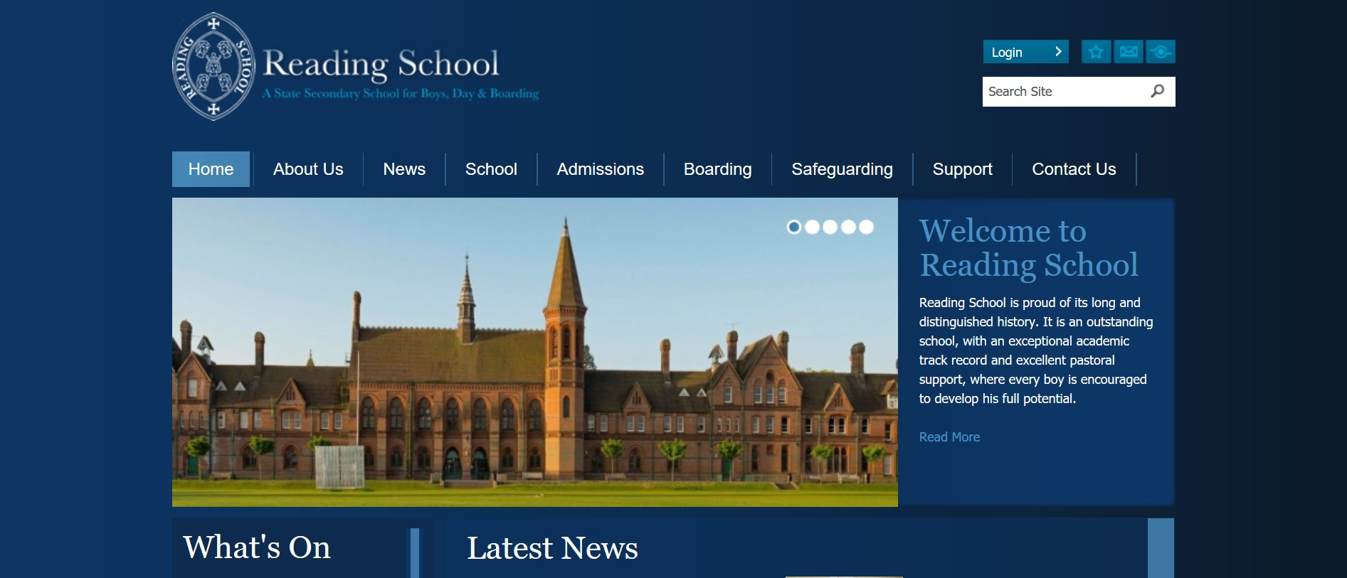 Screenshot of Reading School homepage