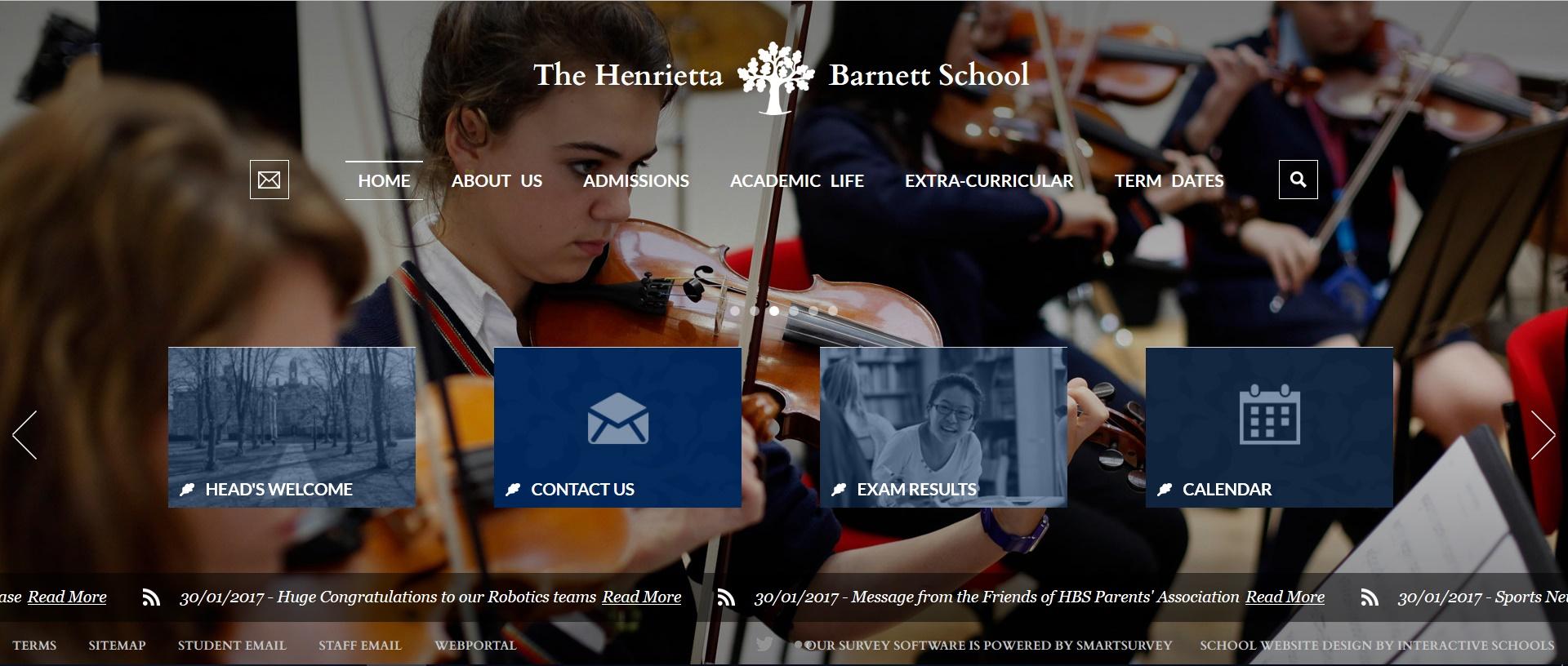 Screenshot of the Henrietta Barnett school home page