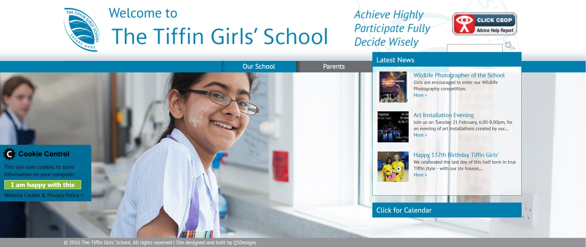 Screenshot of the the Tiffin Girls School home page