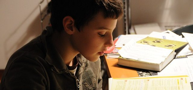 A boy studying with books at home