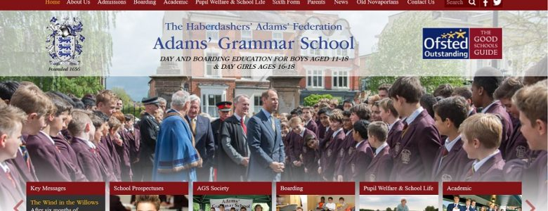 Screenshot of the Adams Grammar School website