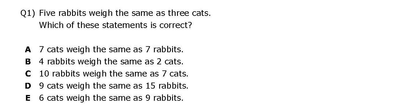 Kent 11 plus Maths Sample Question