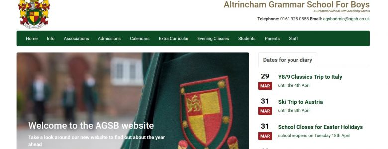 Screenshot of the Altrincham Grammar School for Boys website
