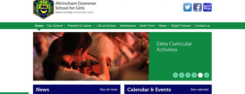 Screenshot of the Altrincham Grammar School for Girls website