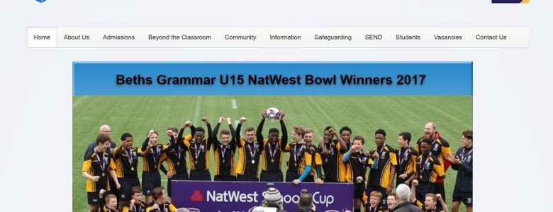 Screenshot of Beths Grammar School website