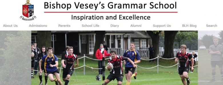 Screenshot of Bishop Vesey's Grammar School website