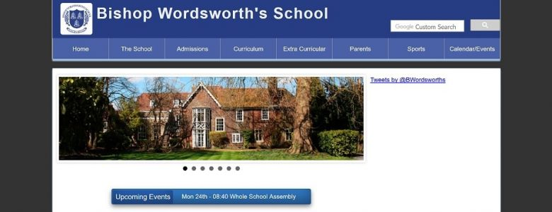 Screenshot of the Bishop Wordsworth's School website
