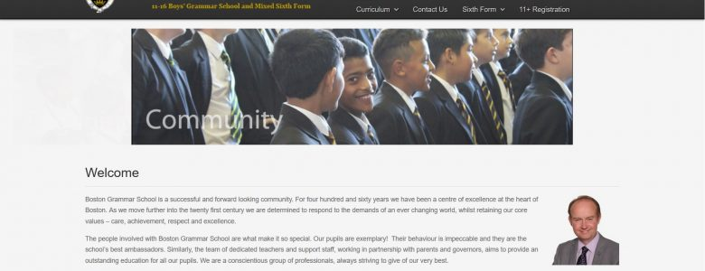 Screenshot of the Boston Grammar School website