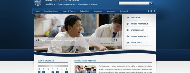 Screenshot of Bournemouth School website