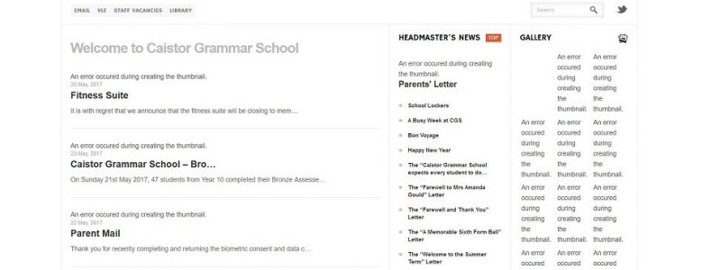 Screenshot of Caistor Grammar School website