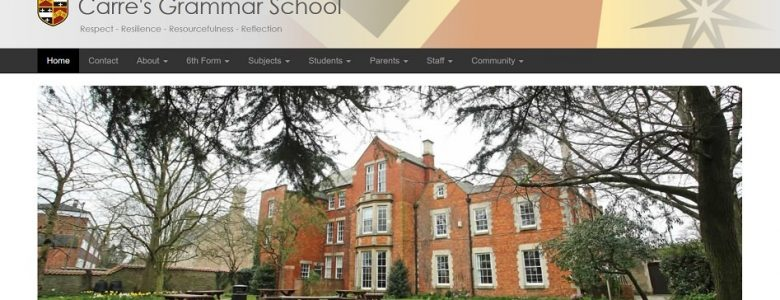 Screenshot of Carre's Grammar School website