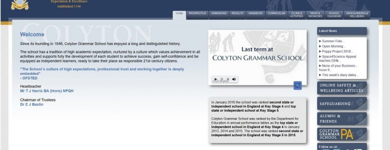 Screenshot of the Colyton Grammar School website