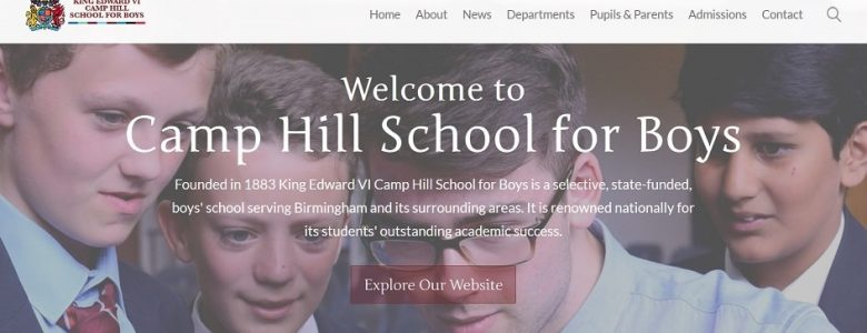 Screenshot of the King Edward VI Camp Hill School for Boys website