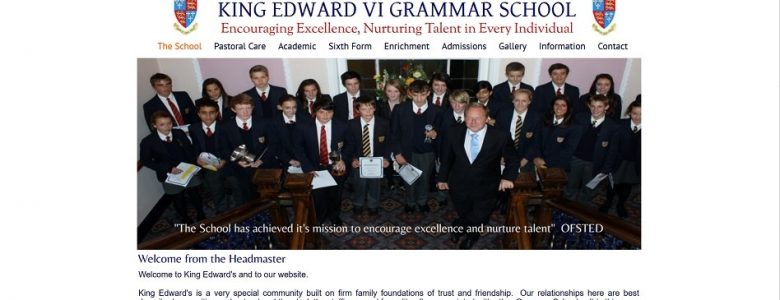Screenshot of the King Edward VI Grammar School, Louth website