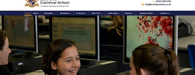Screenshot of Loreto Grammar School website