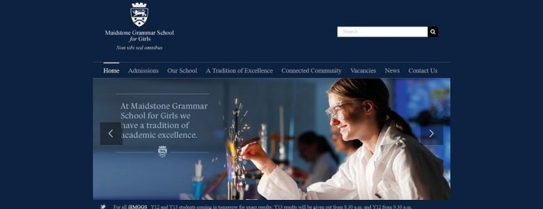 Screenshot of the Maidstone Grammar School for Girls website