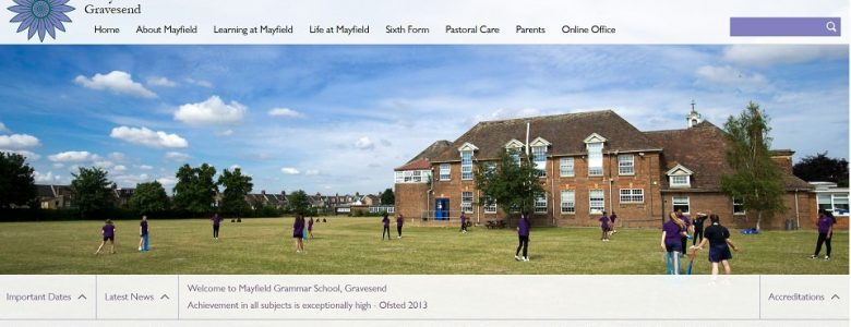 Screenshot of the Mayfield Grammar School website