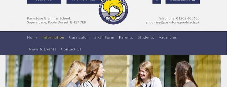 Screenshot of Parkstone Grammar School website
