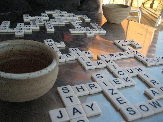 Photo of a game of scrabble on a table